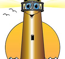 Lighthouse Cartoon Gold by Graphxpro