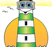 Lighthouse Cartoon Green White by Graphxpro
