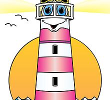 Lighthouse Cartoon Pink White by Graphxpro