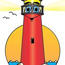 Lighthouse Cartoon Red by Graphxpro