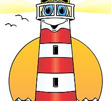Lighthouse Cartoon White Red by Graphxpro