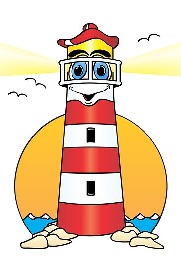 Quot Lighthouse Cartoon White Red Quot By Graphxpro Redbubble