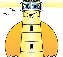 Lighthouse Cartoon Yellow by Graphxpro
