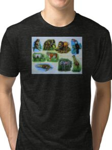 Animal Jigsaw Puzzle Tri-blend T-Shirt