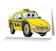 Taxi Cab Car Cartoon Greeting Card