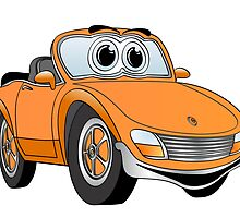 Convertible Orange Sports Car by Graphxpro