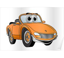 Convertible Orange Sports Car Poster