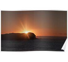Sunburst over Cook Island Poster