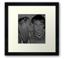 Oh, how she does love her brother. Framed Print