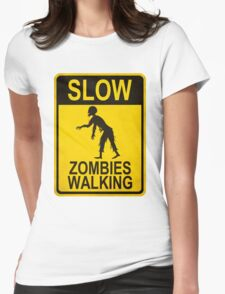 Slow Zombies Walking Womens Fitted T-Shirt
