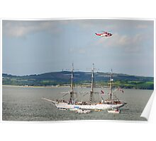 Tall Ship Christian Radich at Duncannon, County Wexford, Ireland Poster
