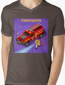 Firefighter with Hydrant Mens V-Neck T-Shirt