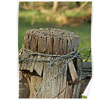 Fence Post with barb wire Poster