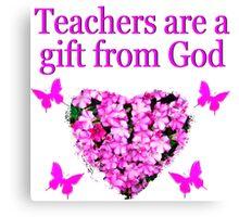 PRETTY PINK FLORAL TEACHERS DESIGN Canvas Print