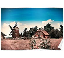 Summer Houses. With a Windmill. Poster