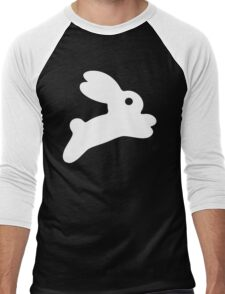 Jumping White Bunny Men's Baseball ¾ T-Shirt