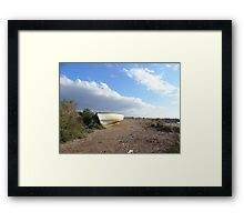 fishing boat on beach Framed Print