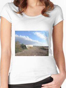 fishing boat on beach Women's Fitted Scoop T-Shirt