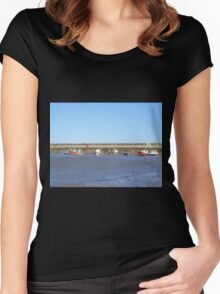 Staithes with boats in the harbour Women's Fitted Scoop T-Shirt