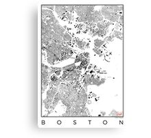 Boston Schwarzplan  Canvas Print