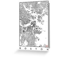 Boston Map Schwarzplan Only Buildings Urban Plan Greeting Card