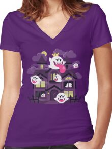 Ghost House Women's Fitted V-Neck T-Shirt