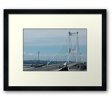 """""""River Severn Bridge with Overhead Line Crossing Tower in the Background"""" Framed Print"""