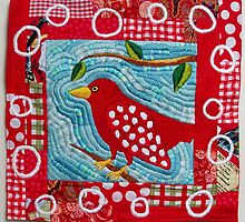 Redbird in the Morning Embroidered Quilt by AndreaSternArt