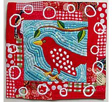 Redbird in the Morning Embroidered Quilt Photographic Print