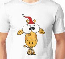 Funny Giraffe Wearing Red Santa Hat Unisex T-Shirt