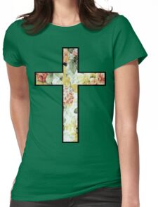 Flowers Cross Womens Fitted T-Shirt