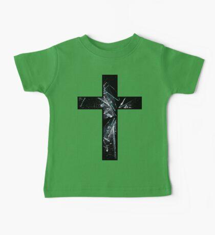 Smashed Black Glass Cross Baby Tee
