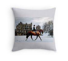 Wollaton Hall Winter Ride Throw Pillow
