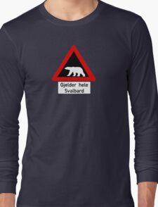 Beware of Polar Bears Sign, Norway Long Sleeve T-Shirt