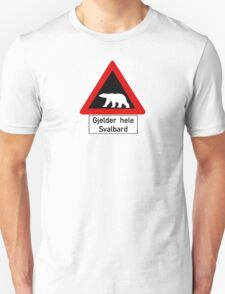 Beware of Polar Bears Sign, Norway Unisex T-Shirt