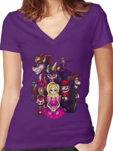 Peach in Mushroomland Women's Fitted V-Neck T-Shirt