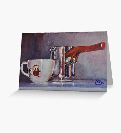 "Espresso Art Original Pastel ""Sweet Maria's Monkey Cup & Pitcher""  by MBurton. Greeting Card"
