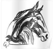 Horse Apple Digi Black and White Poster