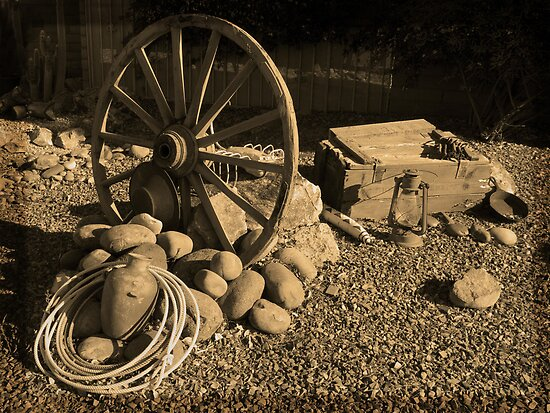 Wagon Wheel, Rope and Lantern by Lucinda Walter