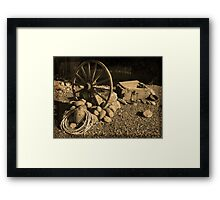 Wagon Wheel, Rope and Lantern Framed Print