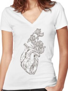 drawing Human heart with flowers  Women's Fitted V-Neck T-Shirt