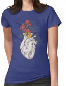 drawing Human heart with flowers Womens Fitted T-Shirt