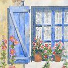 Blue shutters and hollyhocks by ian osborne