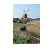 Cley Windmill and the River Glaven Art Print