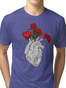 drawing Human heart with flowers Tri-blend T-Shirt