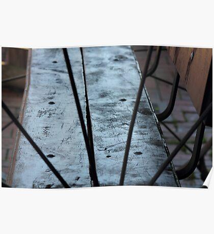 wagon wheel bench seat Poster