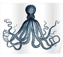 Vintage Octopus Art Print Blue ~ Kraken ~ Nautical ~ Retro ~ 0389 Poster