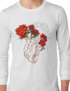drawing Human heart with flowers Long Sleeve T-Shirt