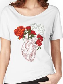 drawing Human heart with flowers Women's Relaxed Fit T-Shirt