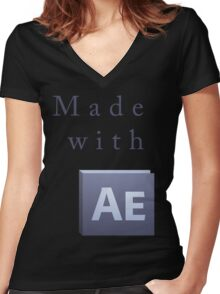 Made with After Effects Front Women's Fitted V-Neck T-Shirt